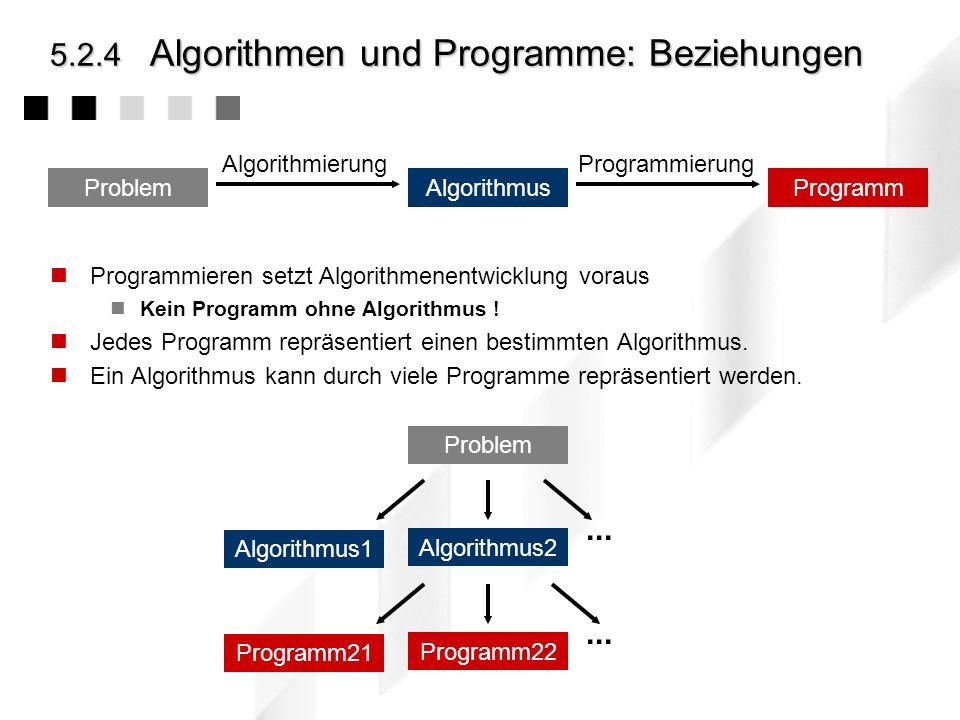 5.2.4 Algorithmen und Programme: Beziehungen
