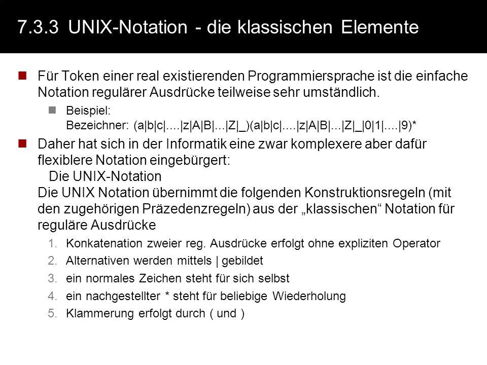 7.3.3 UNIX-Notation - die klassischen Elemente