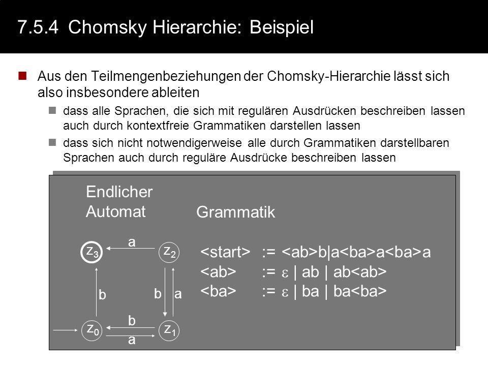 7.5.4 Chomsky Hierarchie: Beispiel