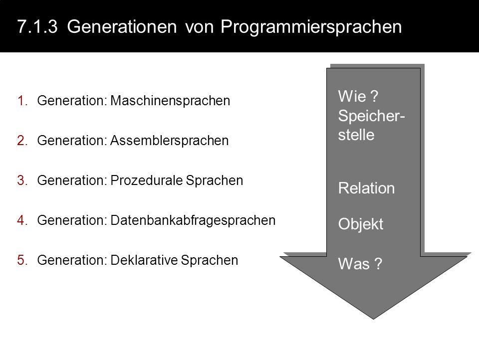 7.1.3 Generationen von Programmiersprachen