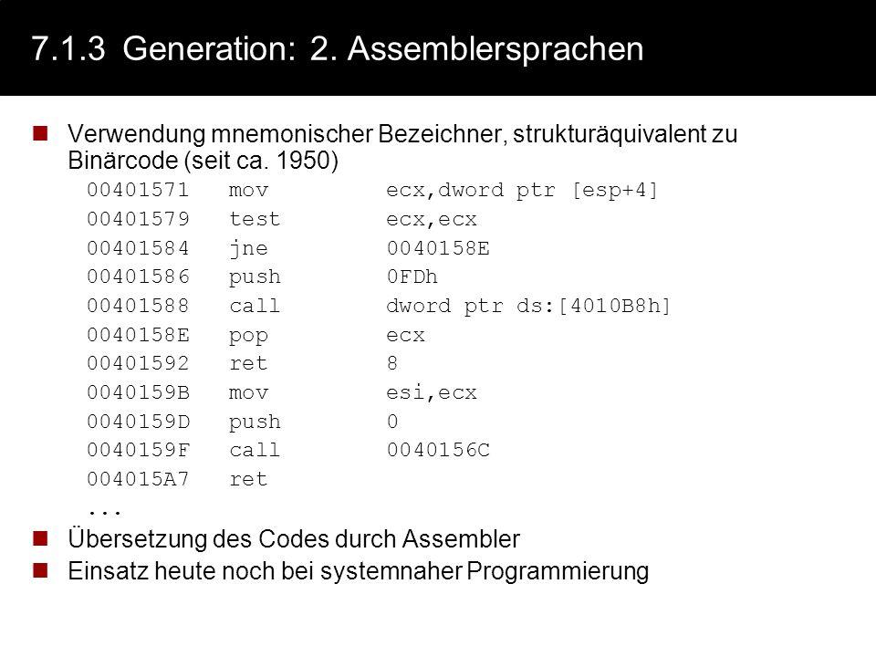 7.1.3 Generation: 2. Assemblersprachen