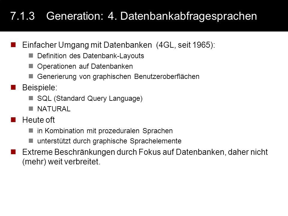 7.1.3 Generation: 4. Datenbankabfragesprachen