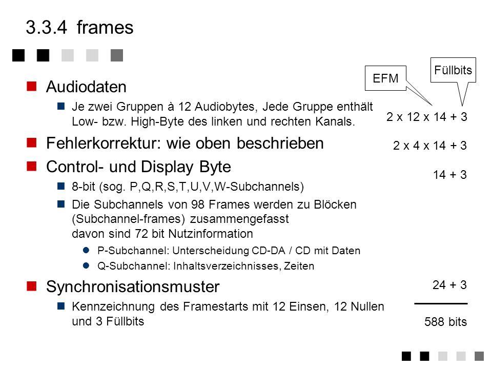 3.3.4 frames Audiodaten Fehlerkorrektur: wie oben beschrieben