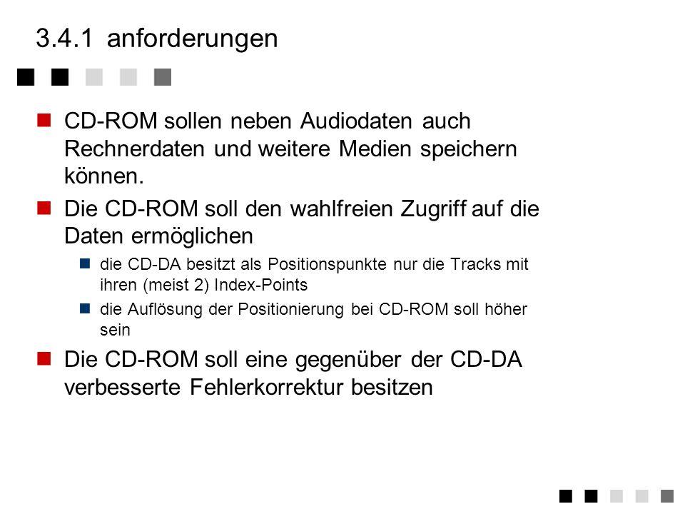 3.4.1 anforderungen CD-ROM sollen neben Audiodaten auch Rechnerdaten und weitere Medien speichern können.