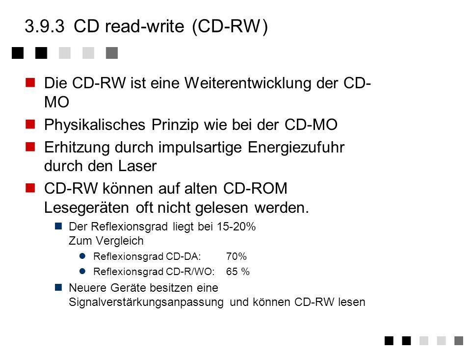 3.9.3 CD read-write (CD-RW) Die CD-RW ist eine Weiterentwicklung der CD-MO. Physikalisches Prinzip wie bei der CD-MO.