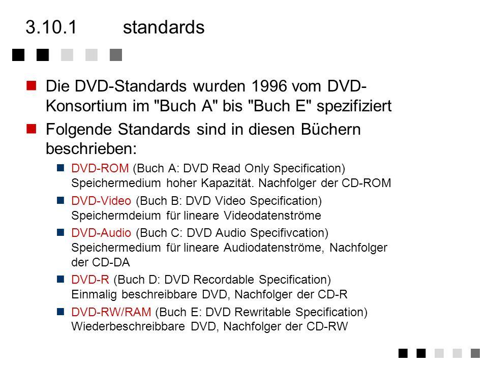 3.10.1 standards Die DVD-Standards wurden 1996 vom DVD-Konsortium im Buch A bis Buch E spezifiziert.