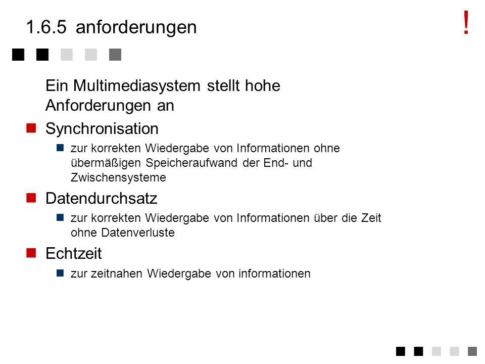 ! 1.6.5 anforderungen. Ein Multimediasystem stellt hohe Anforderungen an. Synchronisation.