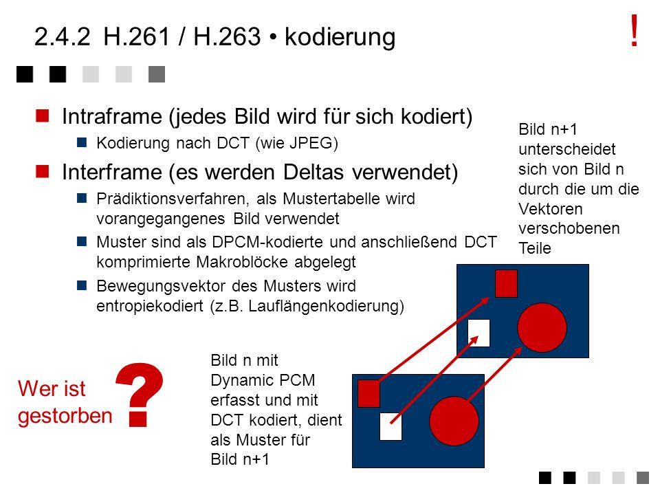 ! 2.4.2 H.261 / H.263 • kodierung. Intraframe (jedes Bild wird für sich kodiert) Kodierung nach DCT (wie JPEG)