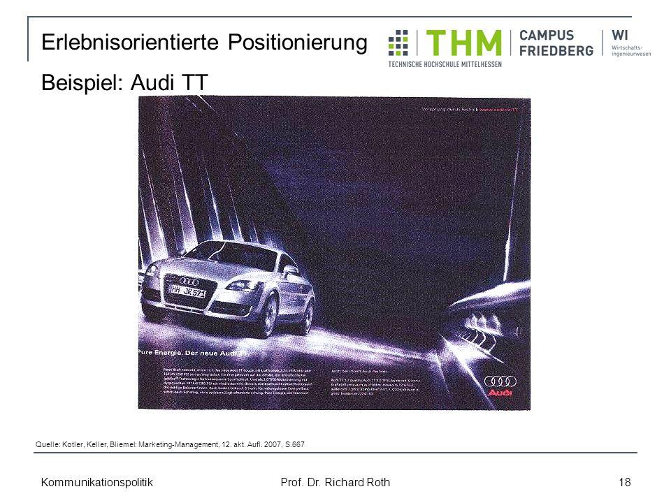 Erlebnisorientierte Positionierung Beispiel: Audi TT