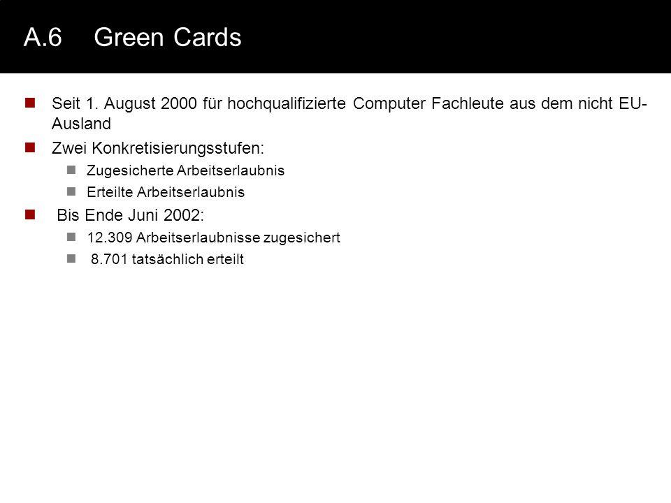 A.6 Green Cards Seit 1. August 2000 für hochqualifizierte Computer Fachleute aus dem nicht EU-Ausland.