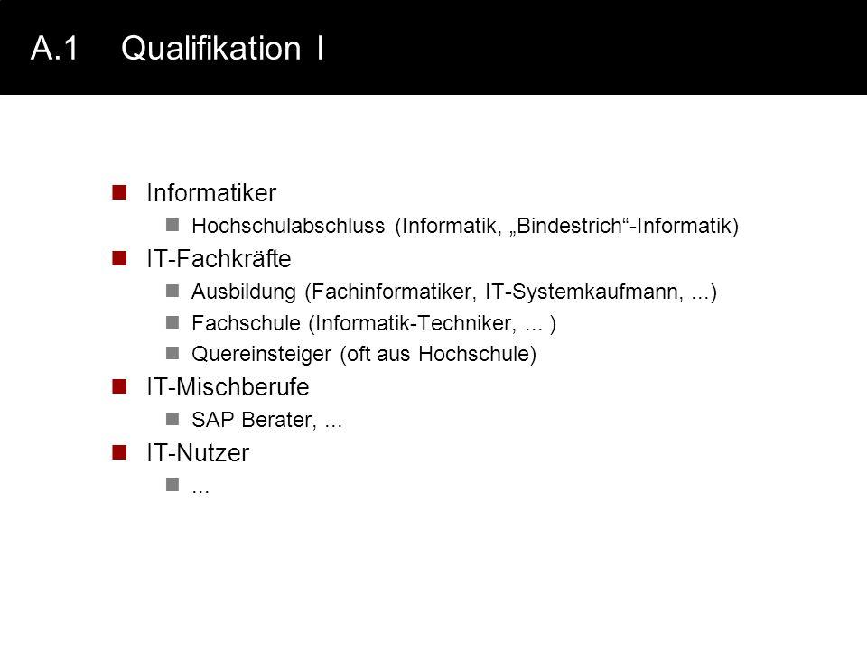 A.1 Qualifikation I Informatiker IT-Fachkräfte IT-Mischberufe