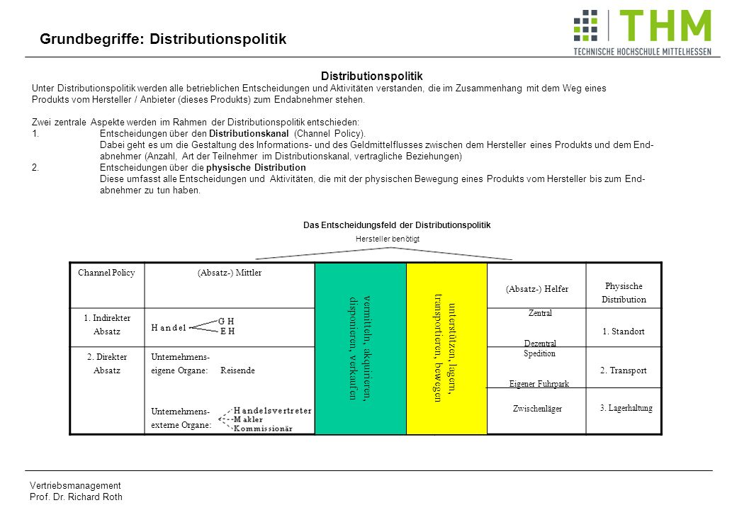 Distributionspolitik Das Entscheidungsfeld der Distributionspolitik