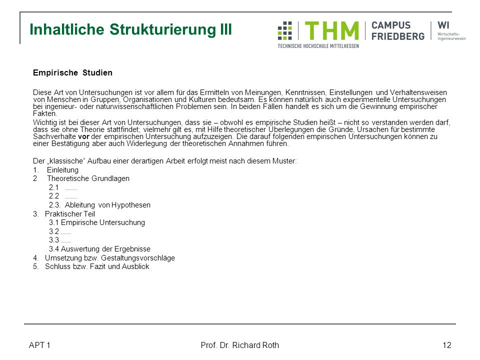 Inhaltliche Strukturierung III