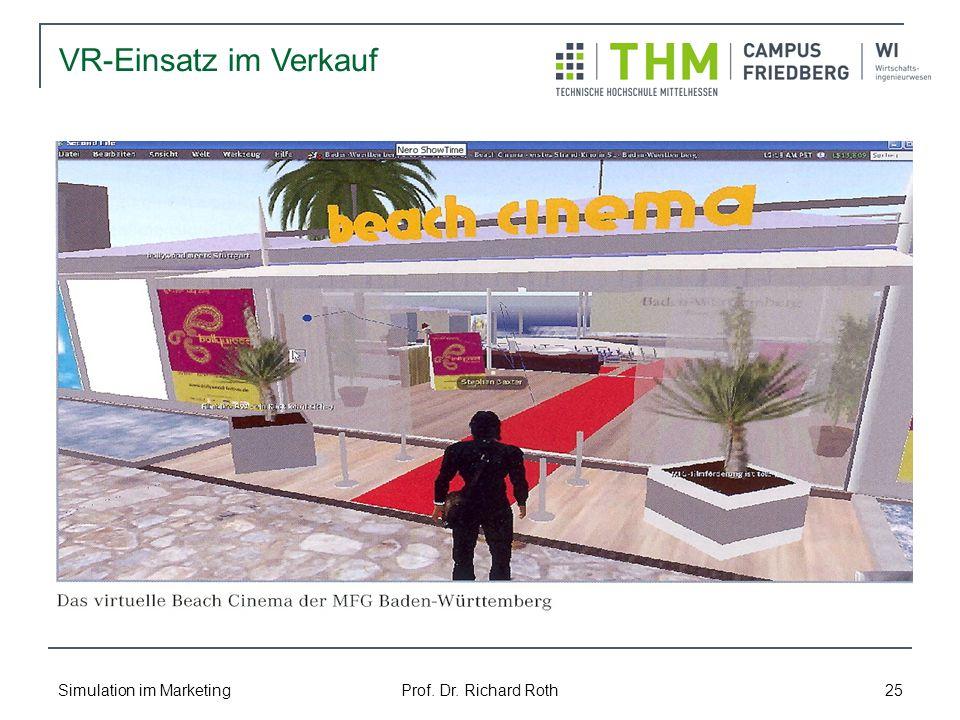 VR-Einsatz im Verkauf Simulation im Marketing Prof. Dr. Richard Roth