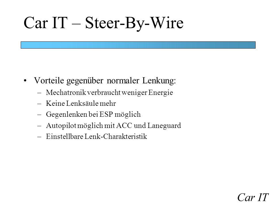 Car IT – Steer-By-Wire Vorteile gegenüber normaler Lenkung: