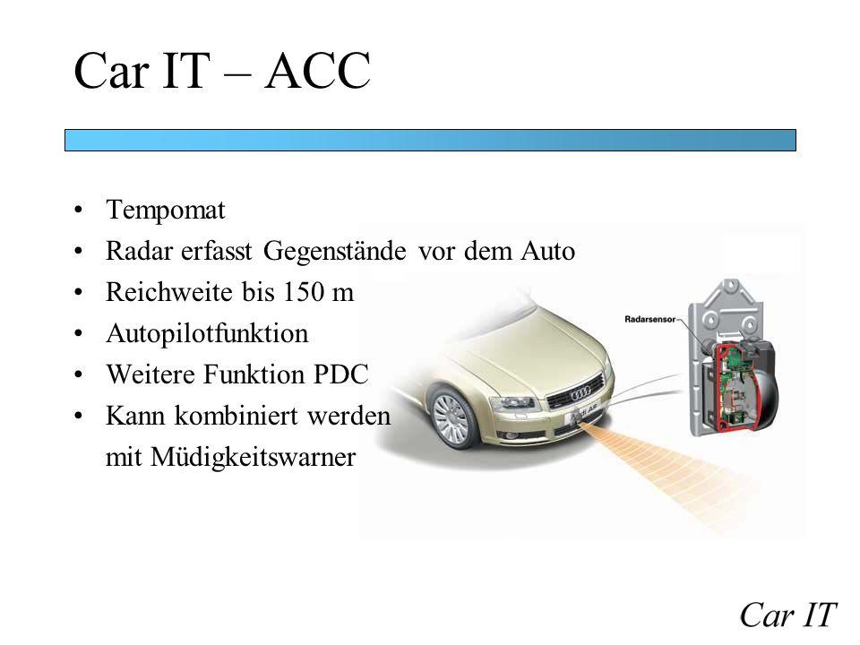 Car IT – ACC Tempomat Radar erfasst Gegenstände vor dem Auto
