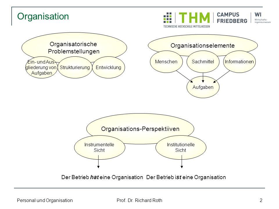 Organisation Organisatorische Organisationselemente Problemstellungen