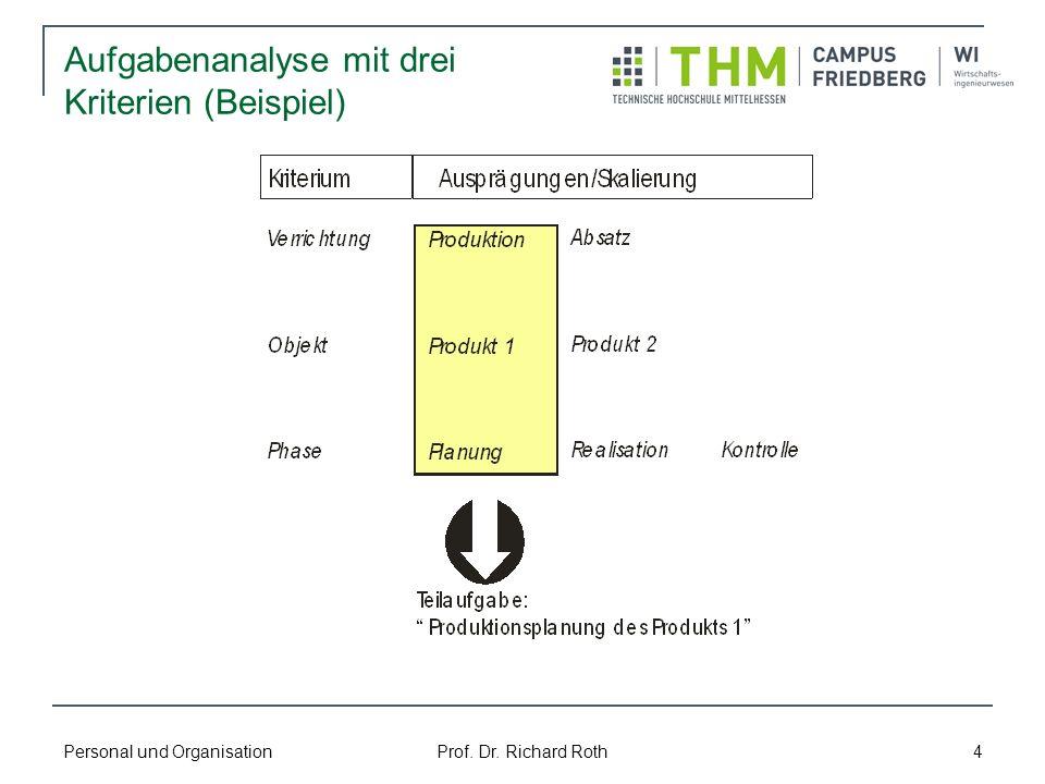 Aufgabenanalyse mit drei Kriterien (Beispiel)