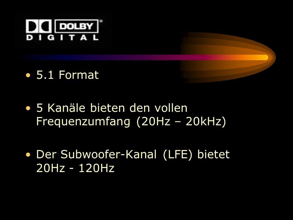 5.1 Format 5 Kanäle bieten den vollen Frequenzumfang (20Hz – 20kHz) Der Subwoofer-Kanal (LFE) bietet 20Hz - 120Hz.