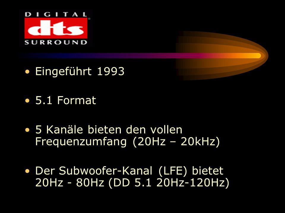 Eingeführt 1993 5.1 Format. 5 Kanäle bieten den vollen Frequenzumfang (20Hz – 20kHz)