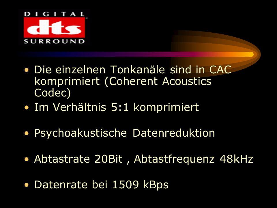 Die einzelnen Tonkanäle sind in CAC komprimiert (Coherent Acoustics Codec)