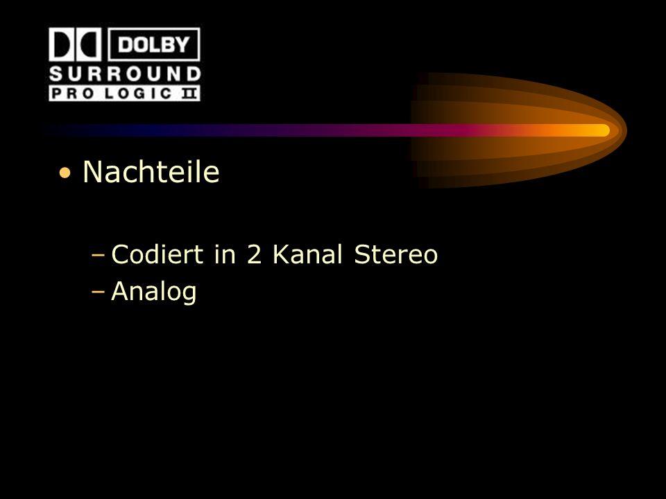 Nachteile Codiert in 2 Kanal Stereo Analog