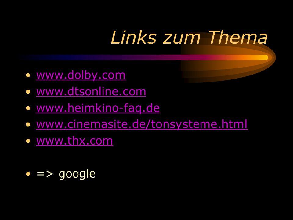Links zum Thema www.dolby.com www.dtsonline.com www.heimkino-faq.de