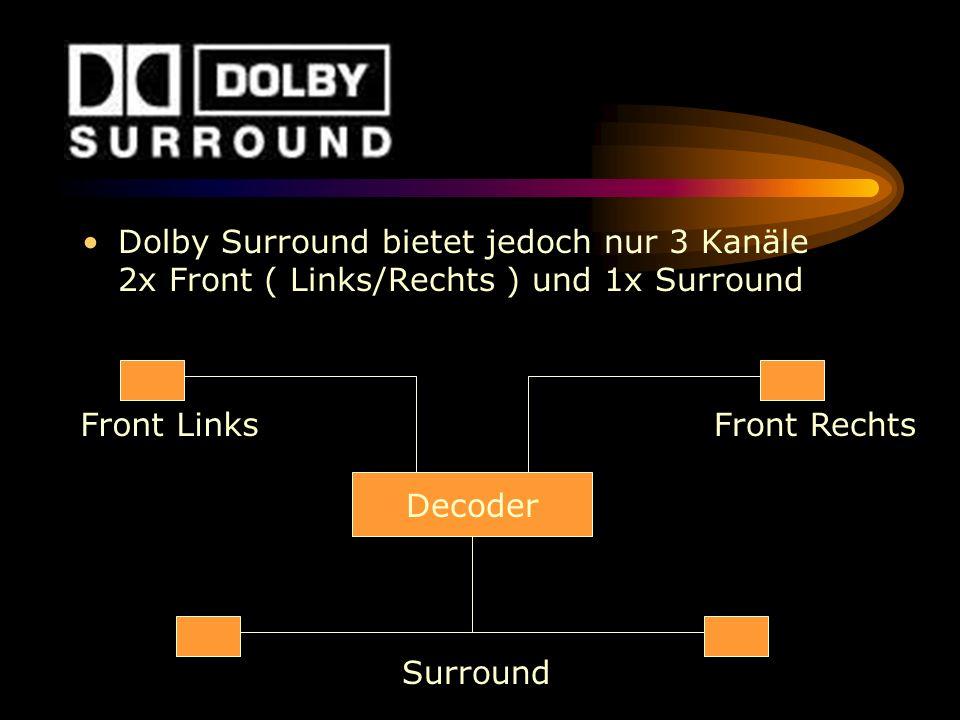 Dolby Surround bietet jedoch nur 3 Kanäle 2x Front ( Links/Rechts ) und 1x Surround