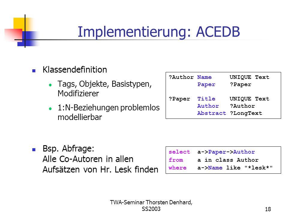 Implementierung: ACEDB