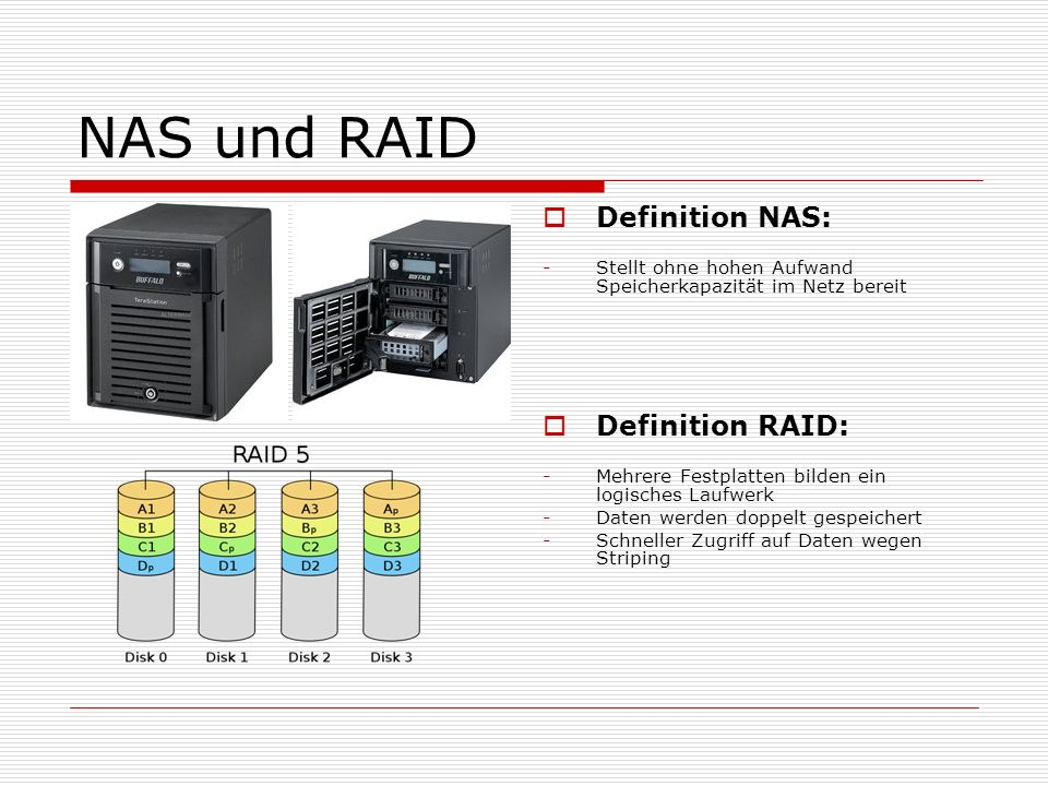 NAS und RAID Definition NAS: Definition RAID:
