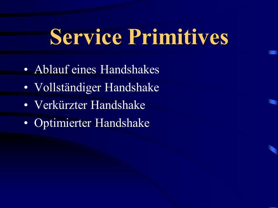 Service Primitives Ablauf eines Handshakes Vollständiger Handshake