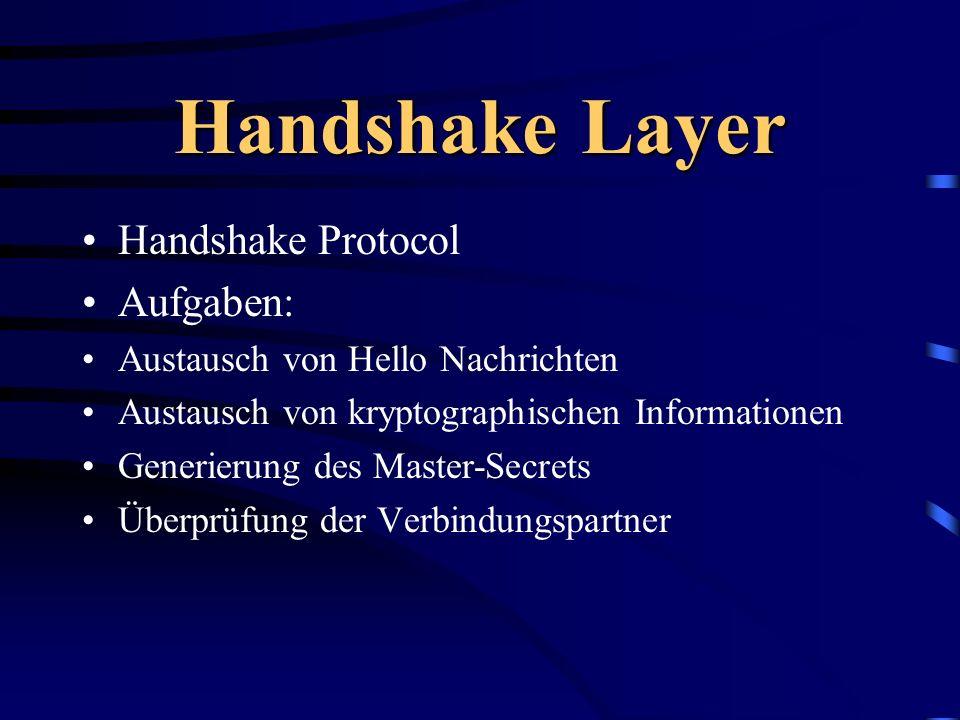 Handshake Layer Handshake Protocol Aufgaben: