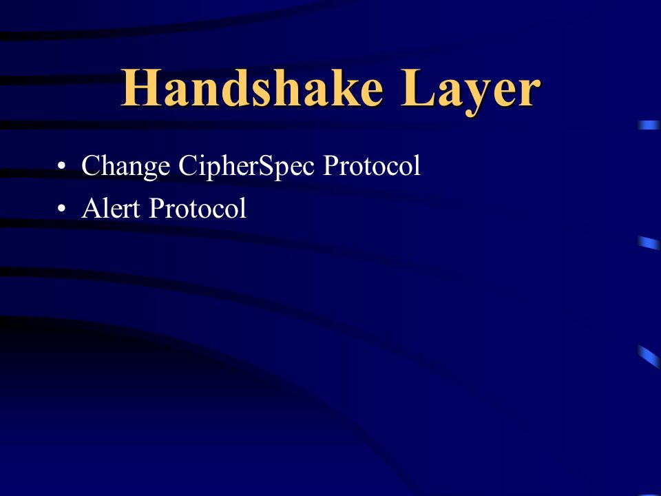 Handshake Layer Change CipherSpec Protocol Alert Protocol