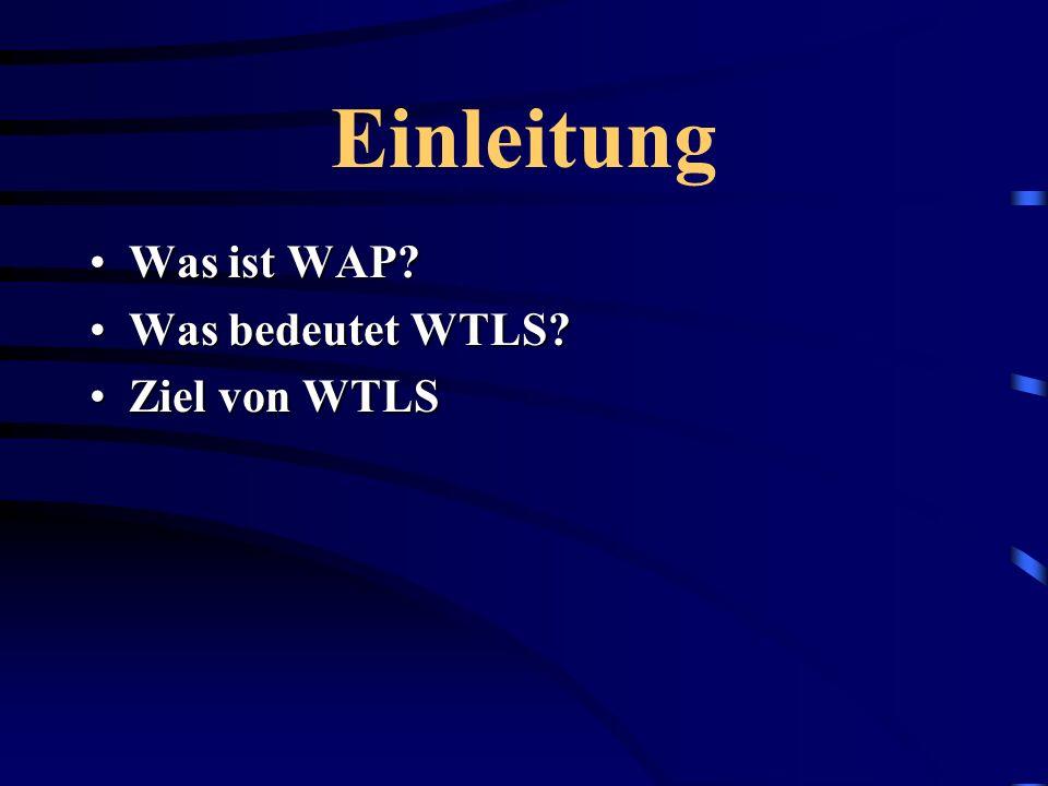 Einleitung Was ist WAP Was bedeutet WTLS Ziel von WTLS