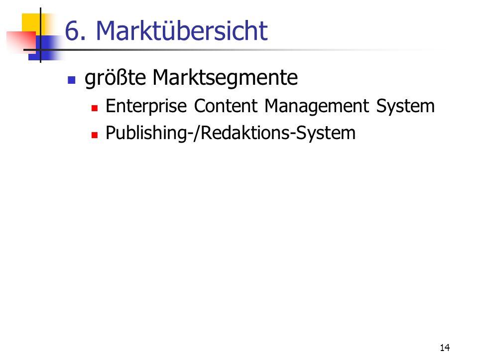6. Marktübersicht größte Marktsegmente