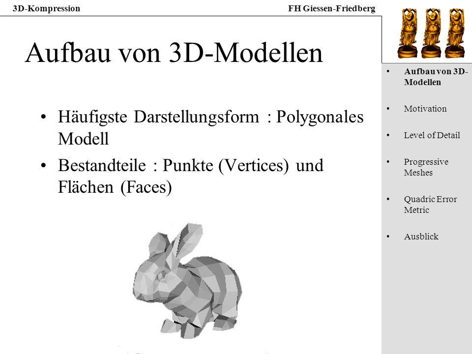 Aufbau von 3D-Modellen Häufigste Darstellungsform : Polygonales Modell
