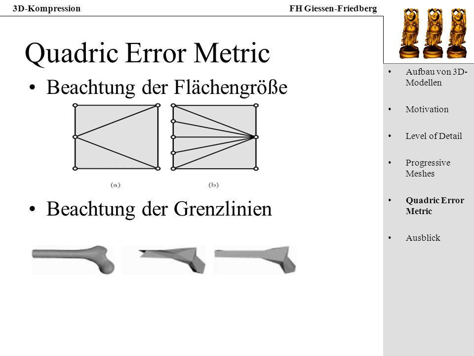 Quadric Error Metric Beachtung der Flächengröße