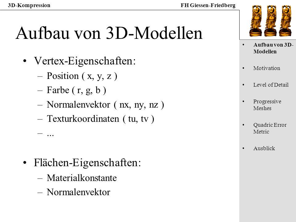 Aufbau von 3D-Modellen Vertex-Eigenschaften: Flächen-Eigenschaften: