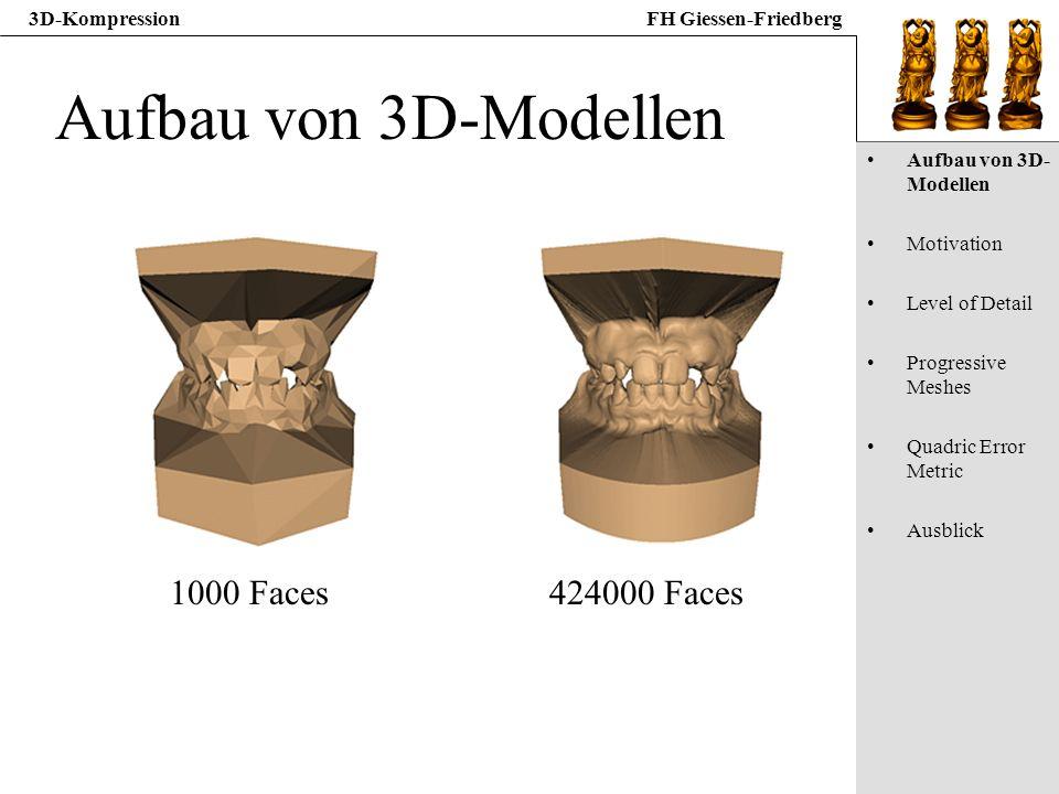 Aufbau von 3D-Modellen 1000 Faces 424000 Faces Aufbau von 3D-Modellen