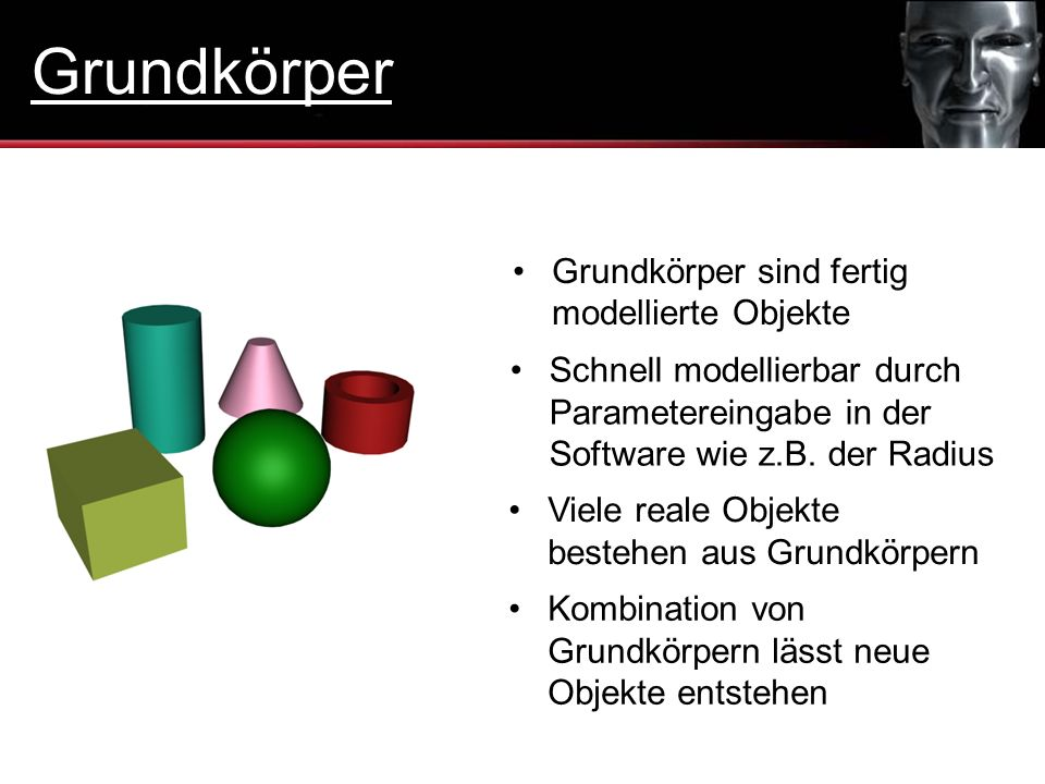 Grundkörper Grundkörper sind fertig modellierte Objekte