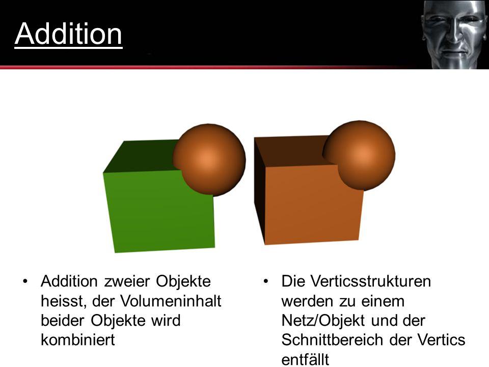 Addition Addition zweier Objekte heisst, der Volumeninhalt beider Objekte wird kombiniert.
