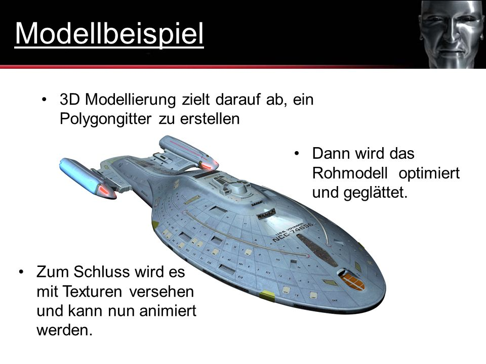 Modellbeispiel 3D Modellierung zielt darauf ab, ein Polygongitter zu erstellen. Dann wird das Rohmodell optimiert und geglättet.