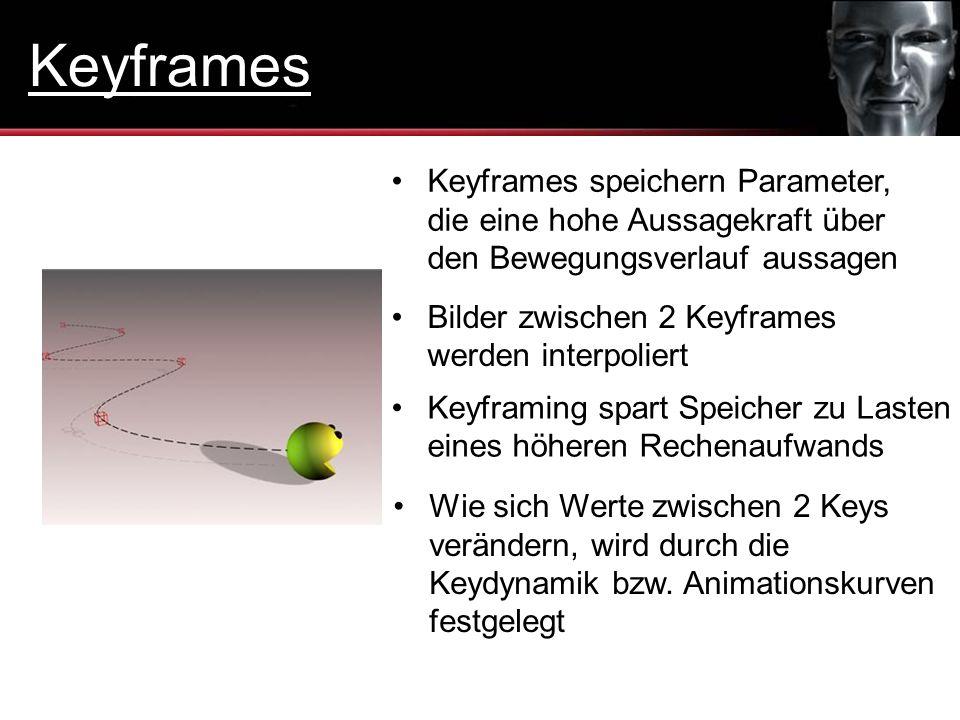 Keyframes Keyframes speichern Parameter, die eine hohe Aussagekraft über den Bewegungsverlauf aussagen.