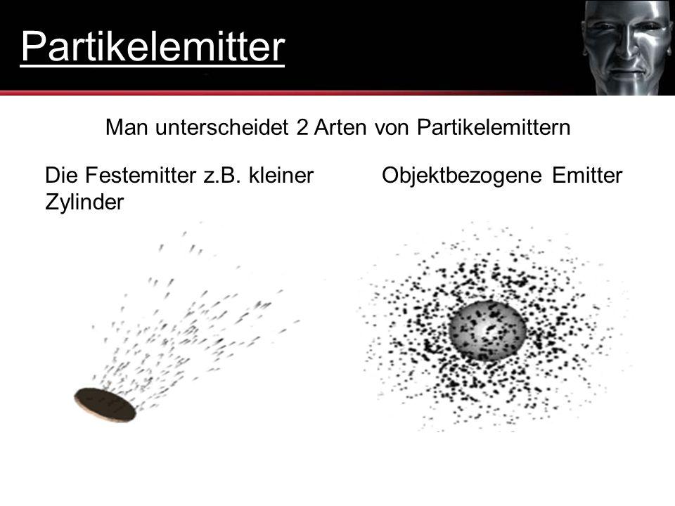 Partikelemitter Man unterscheidet 2 Arten von Partikelemittern