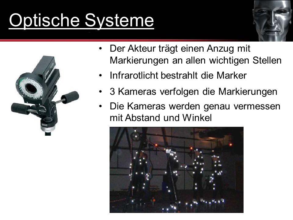 Optische Systeme Der Akteur trägt einen Anzug mit Markierungen an allen wichtigen Stellen. Infrarotlicht bestrahlt die Marker.
