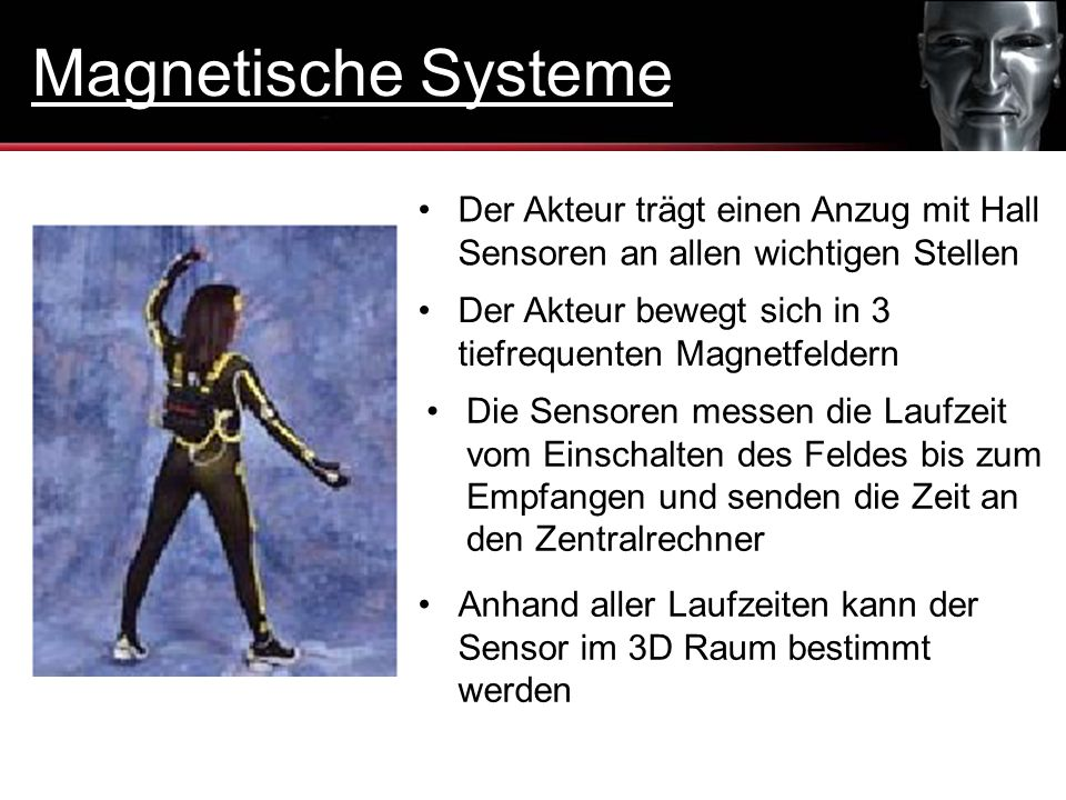 Magnetische Systeme Der Akteur trägt einen Anzug mit Hall Sensoren an allen wichtigen Stellen.