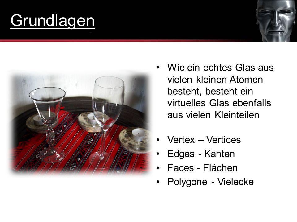 Grundlagen Wie ein echtes Glas aus vielen kleinen Atomen besteht, besteht ein virtuelles Glas ebenfalls aus vielen Kleinteilen.