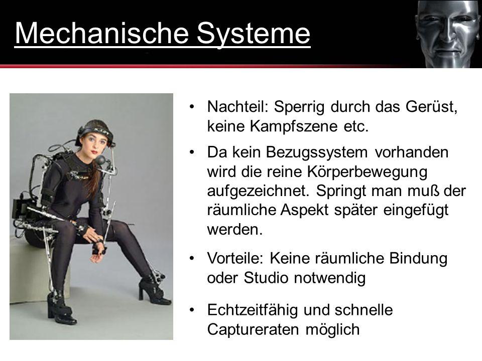 Mechanische Systeme Nachteil: Sperrig durch das Gerüst, keine Kampfszene etc.