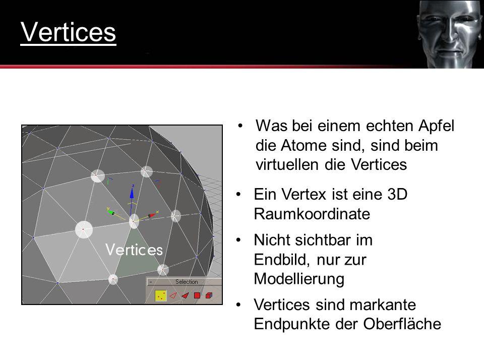 Vertices Was bei einem echten Apfel die Atome sind, sind beim virtuellen die Vertices. Ein Vertex ist eine 3D Raumkoordinate.