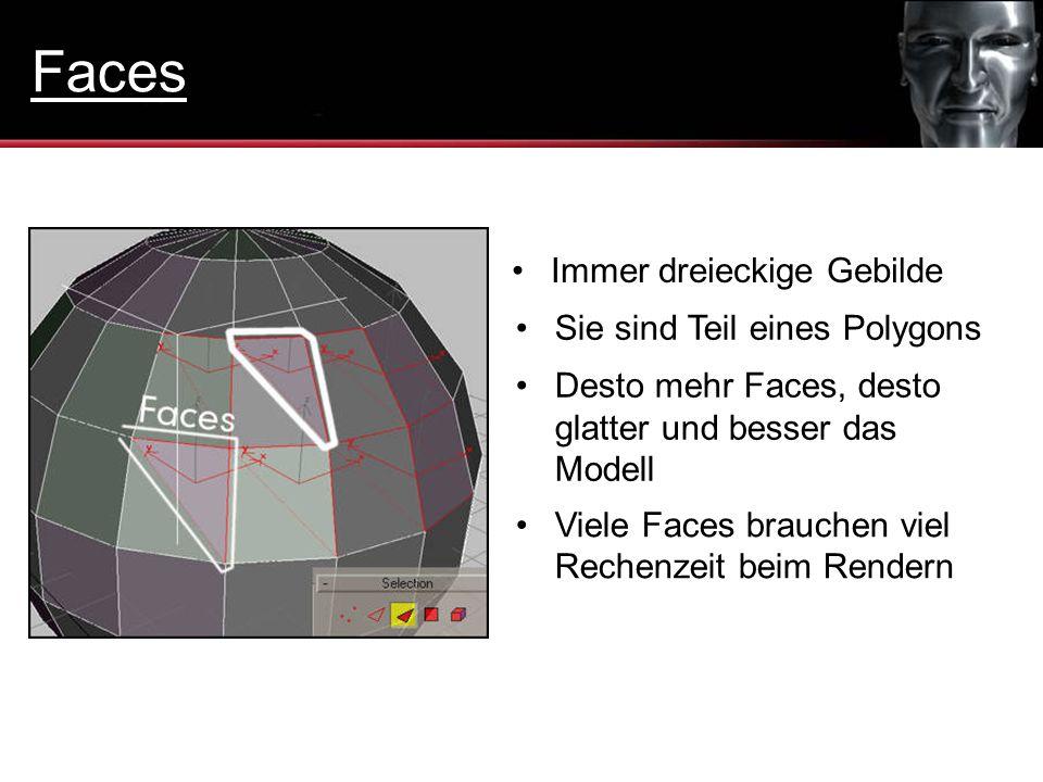 Faces Immer dreieckige Gebilde Sie sind Teil eines Polygons
